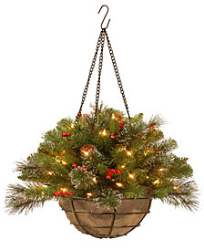 """National Tree Company 20"""" Crestwood Spruce Silver Bristle Hanging Basket With Cones, Berries, Glitter & 50 Battery-Operated LED Lights"""