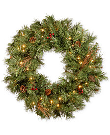 """National Tree Company 24"""" Glistening Pine Wreath With Pine Cones, Berries, Twigs & 50 Battery-Operated LED Lights"""