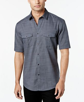 Alfani Men's Warren Textured Short Sleeve Shirt, Created for ...
