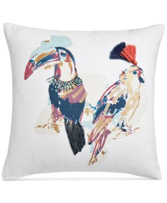 """Tropical Birds Cotton 18"""" Square Decorative Pillow, Created for Macy's"""