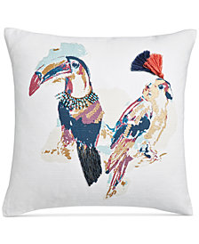"Whim by Martha Stewart Collection Tropical Birds Cotton 18"" Square Decorative Pillow, Created for Macy's"