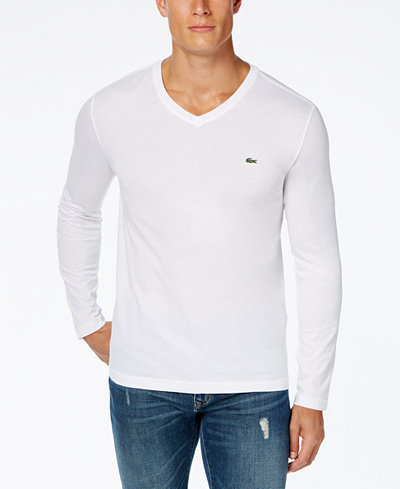 Lacoste men 39 s v neck long sleeve jersey t shirt t shirts for Mens long sleeve white t shirt