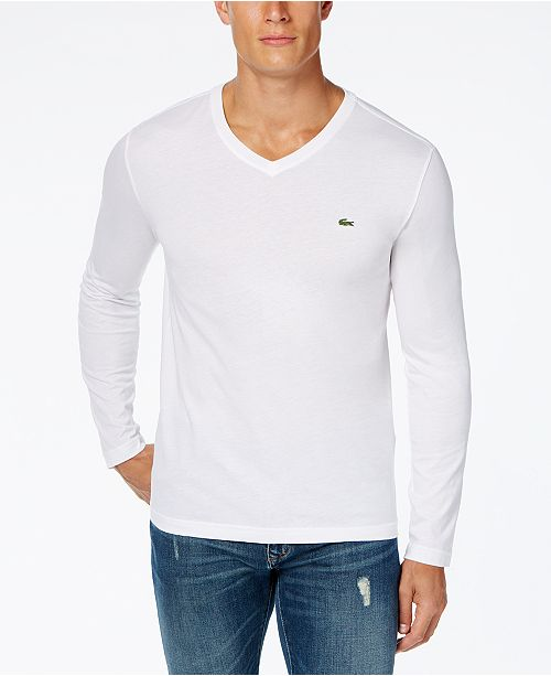 668a446c0407 Lacoste Men s V-Neck Long Sleeve Jersey T-Shirt   Reviews - T-Shirts ...