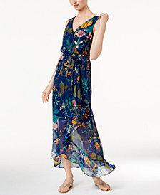 Sangria Printed Surplice Maxi Dress