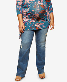 Jessica Simpson Maternity Plus Size Medium Wash Boot-Cut Jeans