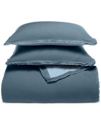 CLOSEOUT! Cotton Linen Reversible 2-Pc. Steel Blue Twin Comforter Set, Created for Macy's