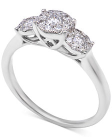 Diamond Triple Halo Engagement Ring (1/2 ct. t.w.) in 14k White Gold