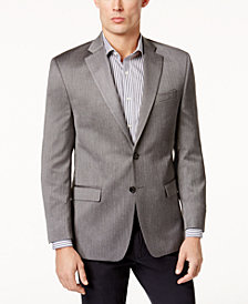 Lauren Ralph Lauren Men's Big & Tall Classic-Fit Light Gray & Black Herringbone Ultra-Flex Sport Coat