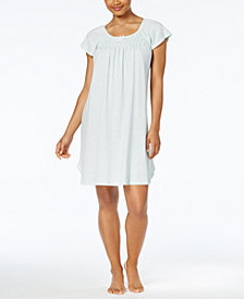 Miss Elaine Printed Smocked Knit Nightgown