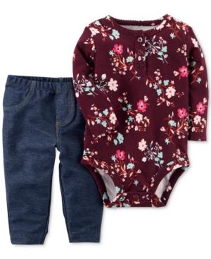 Carters 2Pc FloralPrint Bodysuit  Jeans Set Baby Girls (024 months)