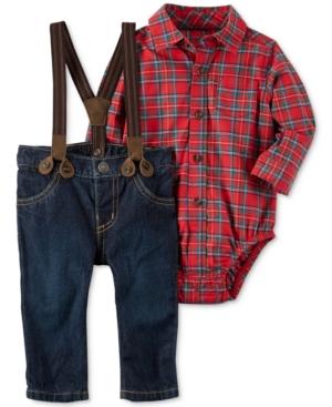 Carters 3Pc Plaid Bodysuit Suspenders  Jeans Set Baby Boys (024 months)