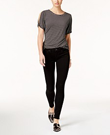 Halle Mid Rise Skinny Jeans in Way Back Black