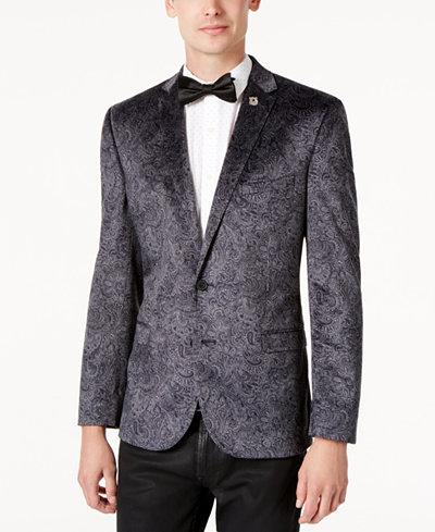 Nick Graham Men's Slim-Fit Velvet Paisley Dinner Jacket - Blazers ...