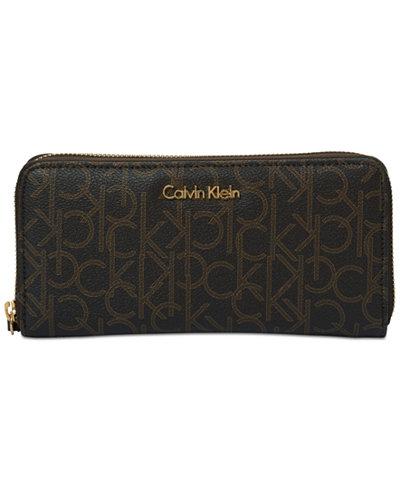 Calvin Klein Continental Signature Zip Around Wallet