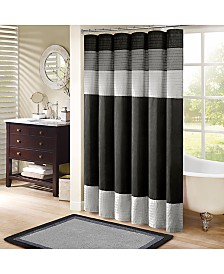 """Madison Park Amherst Colorblocked 72"""" Square Faux-Silk Shower Curtain"""