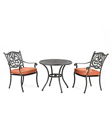 "Chateau Outdoor Cast Aluminum 3-Pc. Dining Set (32"" Round Cafe Table and 2 Dining Chairs), Created for Macy's"