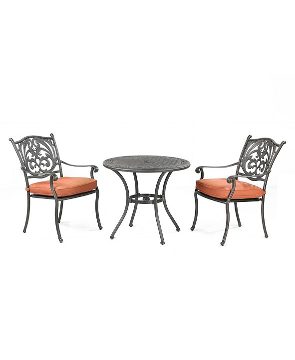 """Furniture Chateau Outdoor Cast Aluminum 3-Pc. Dining Set (32"""" Round Bistro Table and 2 Dining Chairs), Created for Macy's"""