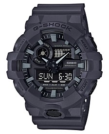 Men's Analog-Digital Dark Grey Resin Strap Watch 53mm
