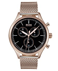 Hugo Boss Men's Chronograph Companion Carnation Gold-Tone Stainless Steel Bracelet Watch 42mm