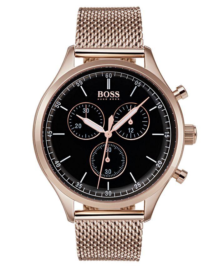 BOSS - Men's Chronograph Companion Carnation Gold-Tone Stainless Steel Bracelet Watch 42mm
