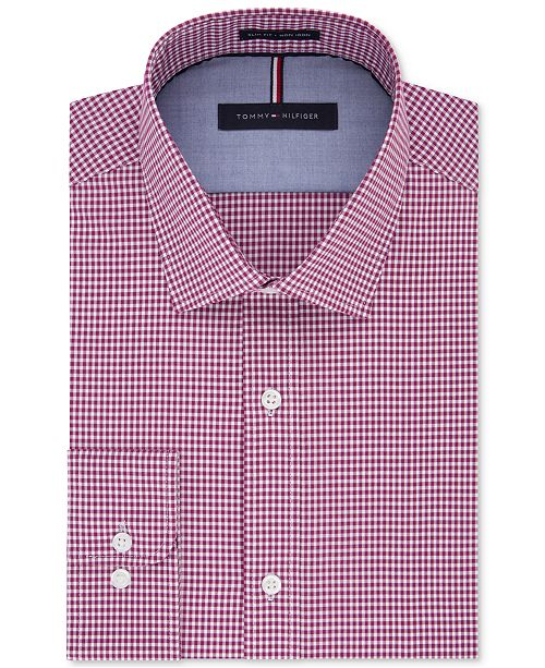 27718032 Tommy Hilfiger Men's Soft Touch Slim-Fit Non-Iron Performance Gingham Dress  Shirt