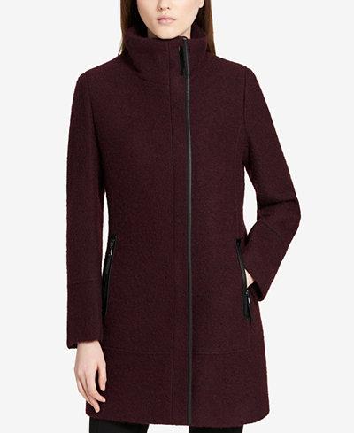 Calvin Klein Faux-Leather-Trim Asymmetrical Coat