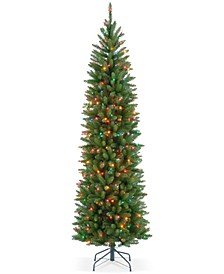 7.5' Kingswood Fir Hinged Pencil Tree With 350 Multicolor Lights