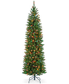 National Tree Company 7.5' Kingswood Fir Hinged Pencil Tree With 350 Multicolor Lights