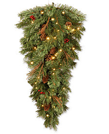 National Tree Company 3' Glistening Pine Teardrop Swag With Pine Cones, Berries, Twigs & 50 Battery-Operated LED Lights