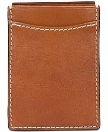 Men's Leather Money Clip Credit Card Case