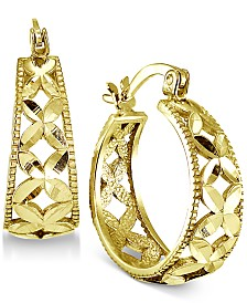 "Giani Bernini Small Floral Hoop Earrings, 0.75"", Created for Macy's"