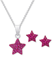Crystal Star Pendant Necklace & Matching Stud Earrings in Sterling Silver