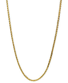 "14k Gold Necklace, 20"" Diamond Cut Wheat Chain"