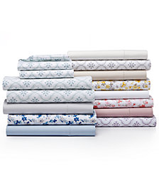 Martha Stewart Collection Cotton Percale 400 Thread Count Solid and Print Sheet Set Collection, Created for Macy's