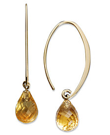 14k Gold Earrings, Citrine Brio Hoops (6-1/2 ct. t.w.)