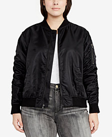 RACHEL Rachel Roy Trendy Plus Size Bomber Jacket