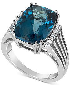Blue Topaz (7 ct. t.w.) & Diamond (1/5 ct. t.w.) Ring in 14k White Gold