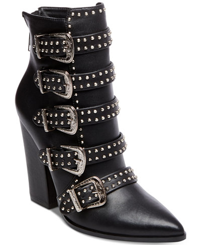Steve Madden Comet Studded Western Booties Boots Shoes