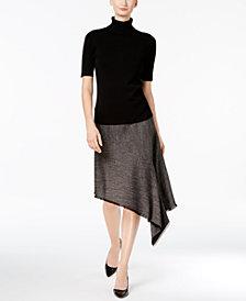 Anne Klein Turtleneck Sweater & Asymmetrical Twill Skirt