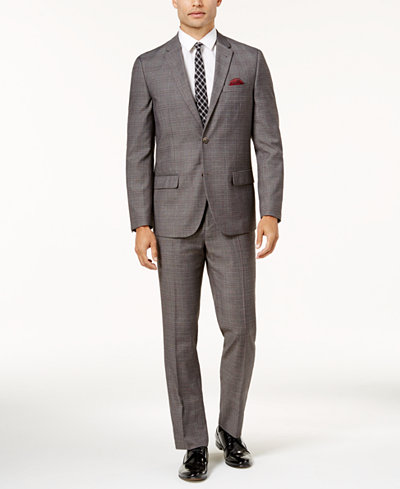 Ben Sherman Men's Slim-Fit Brown & Red Plaid Comfort Stretch Suit