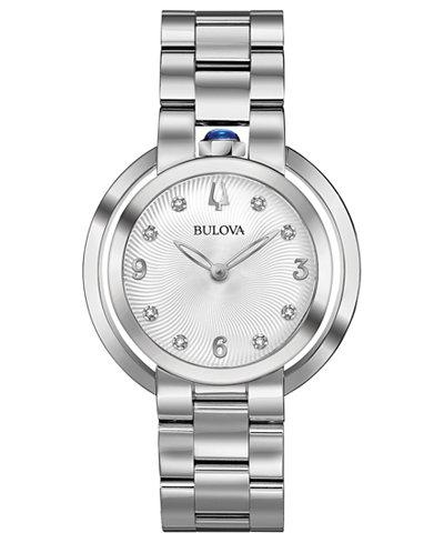 Bulova Women's Rubaiyat Diamond-Accent Stainless Steel Bracelet Watch 35mm