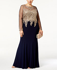 Xscape Plus Size Embroidered Illusion Gown