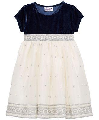 Blueberi Boulevard Velvet & Metallic Embroidery Dress, Baby Girls