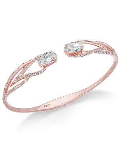 Danori Rose Gold-Tone Crystal Hinged Bangle Bracelet, Created for Macy's