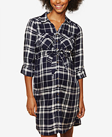 Motherhood Maternity Plaid Shirtdress