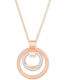 Swarovski Pavé Double-Hoop Pendant Necklace