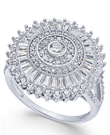 Cubic Zirconia Sunburst Cluster Ring in Sterling Silver