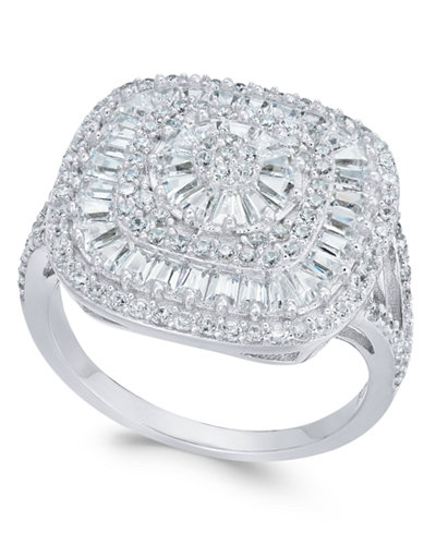 Cubic Zirconia Square Cluster Ring in Sterling Silver