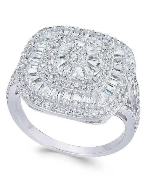 Macy's Cubic Zirconia Square Cluster Ring in Sterling Silver