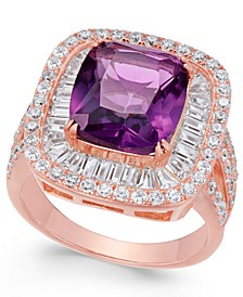 Simulated Amethyst & Cubic Zirconia Ring in 14k Rose Gold-Plated Sterling Silver
